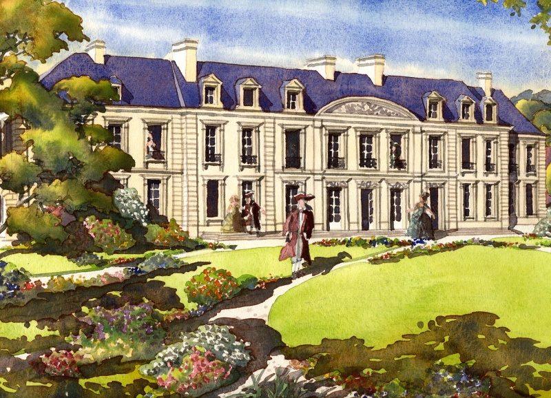 Dessin d'artiste de ce que devait être le château côté cour à sa construction.