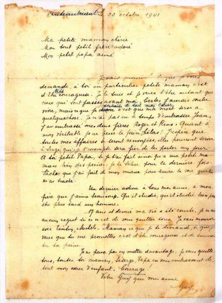 Lettre originale Guy Mocquet